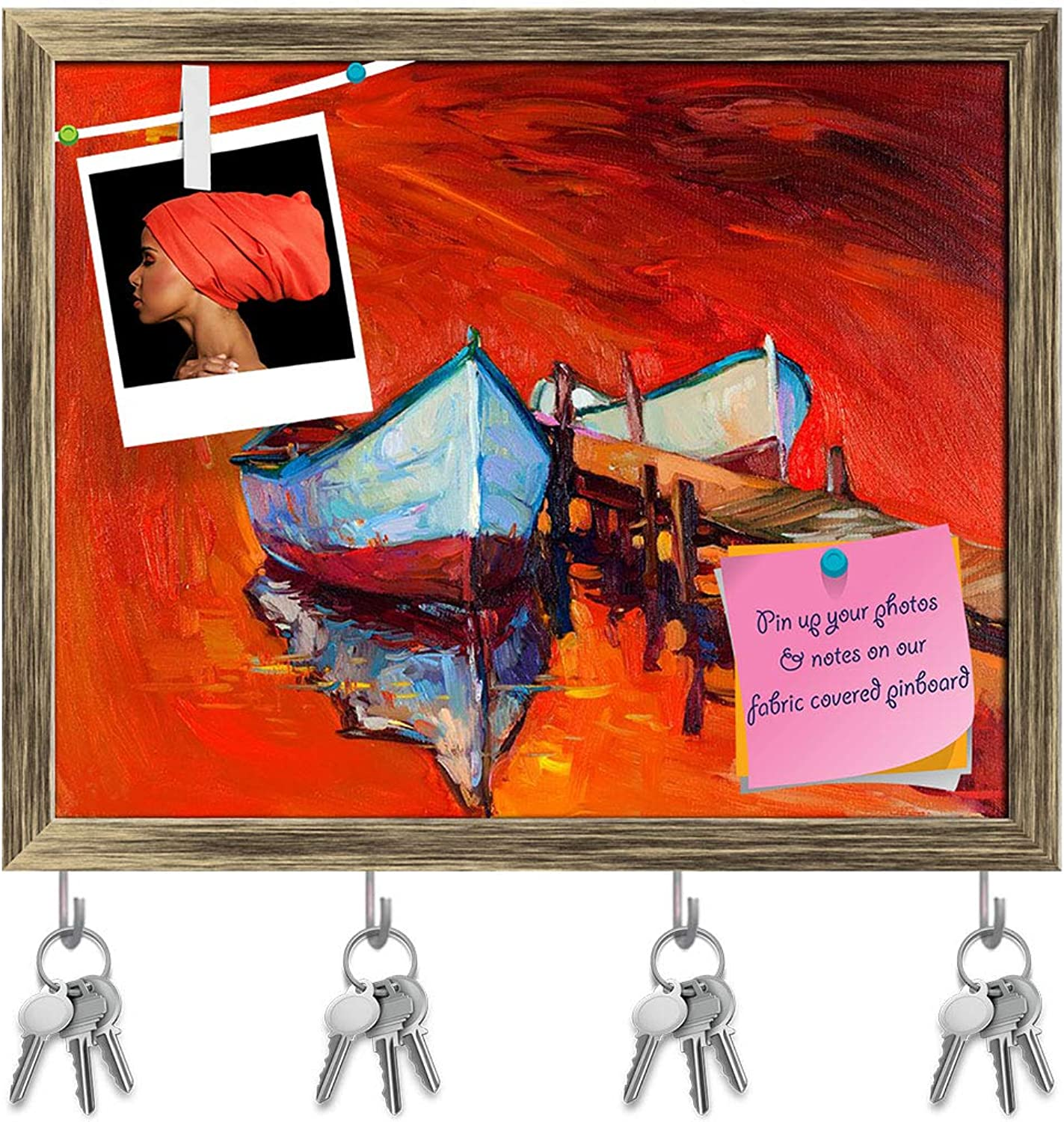Artzfolio Artwork of Boats & Jetty D9 Key Holder Hooks   Notice Pin Board   Antique golden Frame 19.9 X 16Inch