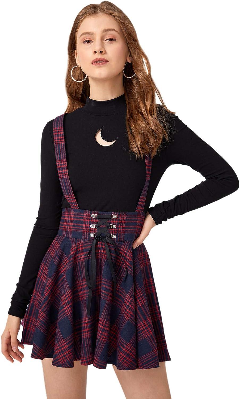 MakeMeChic Women's Plaid Print Lace Up Zip Back High Waist Overall Skirt Multi M