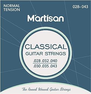 Martisan klassieke gitaarsnaren concertgitaar, nylon en zilver voor klassieke gitaar Normal Tension, 028/043, 6 snaren set...