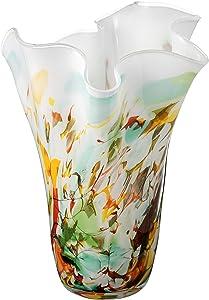 Grande Faite à la Main Mouchoir Vase en Verre – dans une Boîte Cadeau Dorée - Forme Unique Décoratifs Vase Centre de Table - Vase Multicolore: Vert Jaune Bleu - 34 cm