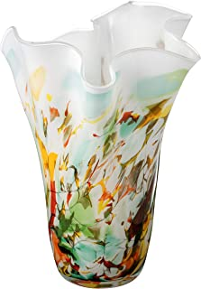 Large Handmade Handkerchief Glass Vase 13.4″ - Multi Color (Green Yellow Red) - Mouth Blown Lead Free Glass - Decorative Art Vase Centerpiece - in Golden GIFT BOX - 13.4 in (34 cm)
