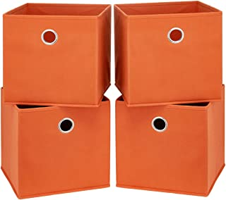 i BKGOO Lot de 4 boîtes de rangement pliables en tissu avec œillets ronds en métal pour organiser une étagère, une chambre...