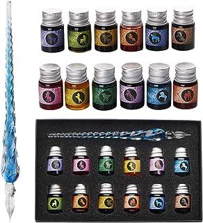 Verre Dip Lot de stylos - Stylo de calligraphie avec 12 plume en verre d'encre colorée pour l'art, l'écriture, la signatur...