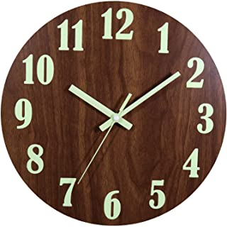 Night Light Wall Clock, 12 Inch Silent Non-Ticking Wall Clocks, Large Luminous Function, Battery Operated Decorative Wall ...