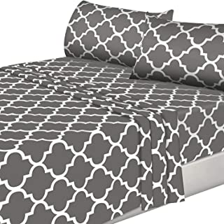 Utopia Bedding 4PC Bed Sheet Set 1 Flat Sheet, 1 Fitted Sheet, and 2 Pillowcases (King, Grey)