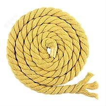 WLLBT 3 Strengen Twisted Katoen Gevlochten Katoen Draad Touw Diy Bag Trekkoord Riem Decoratie Accessoires 10Mx10mm geel
