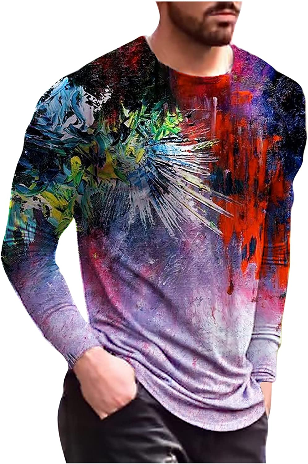 Hipster Printing Color Shirts for Men,Casual Long Sleeve Round Neck Slim Fit Tee Comfortable Soft Graphic Top