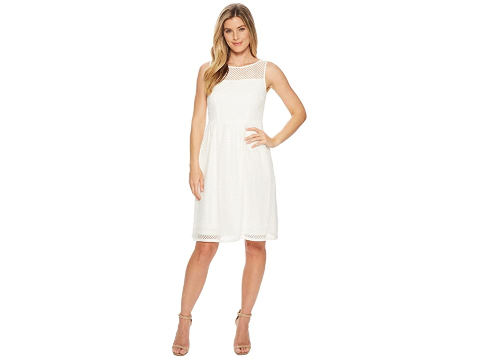 Adrianna Papell Embroidered Diamonds Fit and Flare (Ivory) Women