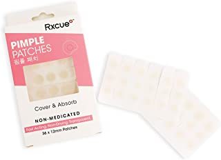 Hydrocolloid Acne Treatment - Korean Skin Rxcue Pimple Patch Pack (Invisible, Ultra-Thin, Mighty Stick) Cystic, Blemish and Acne Spot Treatment Stickers - Sweat Proof Zit Dots (36x12mm/Box)