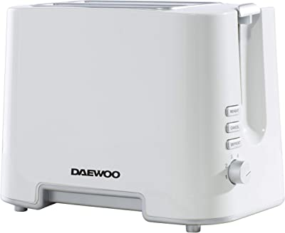 Daewoo SDA1651GE ' Plastic Chrome Electronic Browning Control and Cancel, Defrost & Reheat Functions, Auto Pop-Up and Easy Clean Slide Out Crumb Tray, 730-870W Power, White 2 Slice Toaster