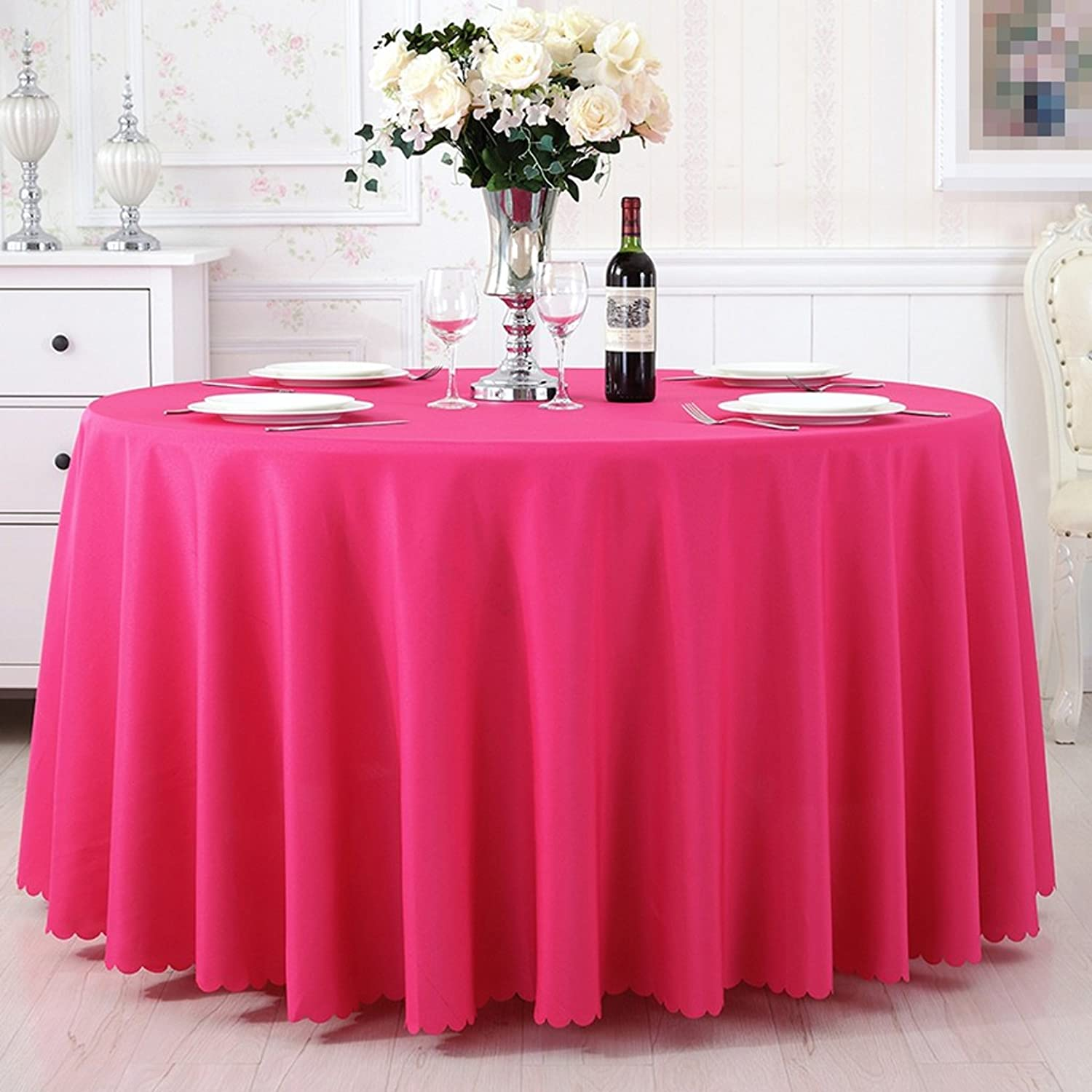 L&Y Hotel Tablecloths Conference Tablecloth Thick Chemical Fiber Material Tablecloth Round Diameter Tablecloth Table Cloth Tablecloths Table Cover (color   PINK, Size   320CM)