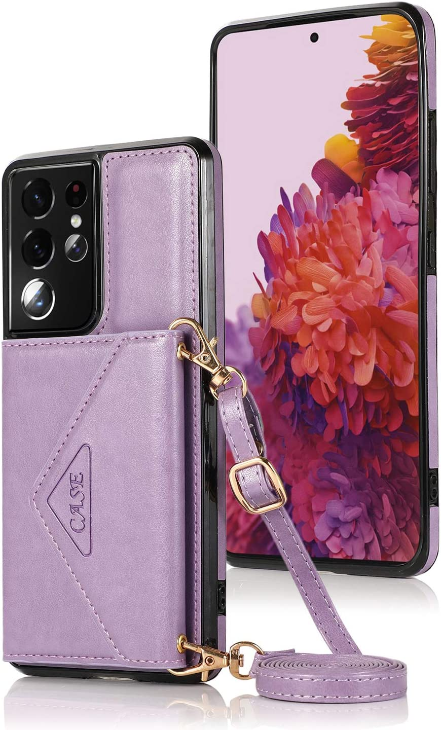 LUVI for Galaxy S21 Ultra Card Holder Wallet Case with Crossbody Neck Strap Lanyard Handbag Wrist Strap PU Leather Flip Cover with Credit Card Slot Kickstands Stand Case for Galaxy S21 Ultra Purple