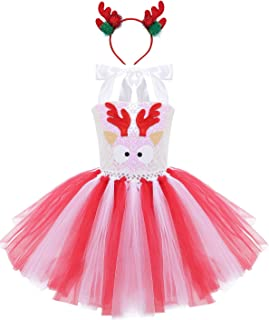 Girls Kids Sequins Christmas Reindeer Santa Claus Cartoon Elk Applique Dresses Cosplay Xmas Party Tutu Skirt