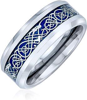 خواتم خاتم زفاف من التيتانيوم مع عقدة سلتية بلونين من بلينج جويليري للرجال والنساء مقاس 8 ملم ألوان أكثر