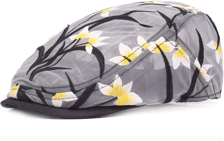 UKURO Beret Cotton Print Mesh Peaked Cap Ventilation Spring Summer Thin Section Women Visor Hat Newsboy