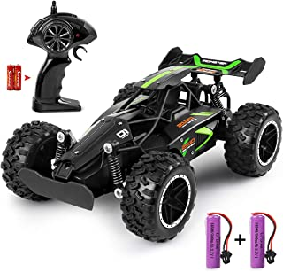 RC Car - Outerman 1:18 Scale 2.4Ghz Remote Control Trucks, 15-20 km/h High Speed Racing Car with 2 Rechargeable Lithium Ion Batteries, Electric Toy Car for All Adults & Kids (Black+Green)