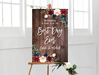 Tomorrow is Going to Be The Best Day Ever Sign,Rustic Rehearsal Dinner Welcome Sign,Printable SignBurgundy and Navy