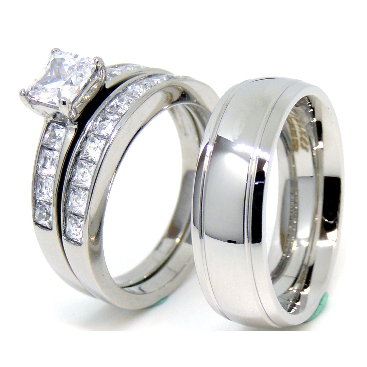 Lanyjewelry His and Hers 情侣戒指套装 女式 公主 CZ 婚戒套装 男式圆顶槽边戒指
