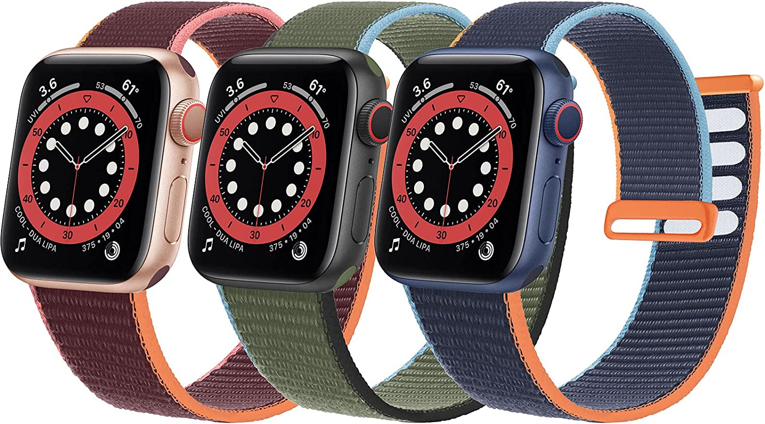 Bifeiyo 3 Pack Nylon Bands Compatible with Apple Watch Band 41mm 40mm 38mm Women Men, Adjustable Sport Replacement Strap for iWatch Series 7 6 5 4 3 2 1 SE(Plum/Inverness Green/Deep Navy Blue)