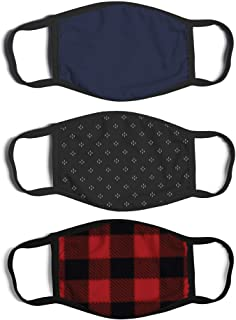 ABG Accessories Men's 3-Pack Adult Fashionable Germ Protection, Reusable Fabric Face Mask, Red/Black