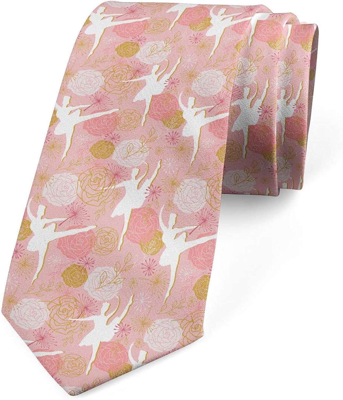 Ambesonne Necktie, Roses Dancers Silhouettes, Dress Tie, 3.7