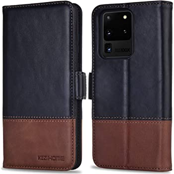 KEZiHOME Galaxy S20 Ultra Case, Genuine Leather [RFID Blocking] Samsung S20 Ultra 5G Wallet Case Flip Folio Magnetic Cover with Card Slot Kickstand for Samsung Galaxy S20 Ultra 6.9 inch (Black/Brown)