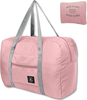 Folding Travel Duffel Bag Packable Light Nylon Water Resistant Tote Weekend Getaway Overnight Carry-on Shoulder (Pink)