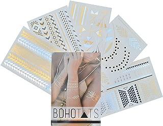 BohoTats Tattoos - Set of 5 Sheets - Over 100+ Intricate Designs - Stunning Flash Metallic Boho Tattoos - Non Toxic - Quality Guarantee - Temporary Metallic Tattoos