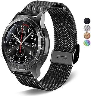 DEALELE Compatible para Galaxy Watch 46mm 22mm Malla Metálica de Acero Inoxidable Correa de Repuesto para Samsung Gear S3 Frontier/Classic Mujeres Hombres Negro