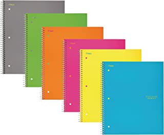 """Five Star Spiral Notebooks, 5 Subject, Wide Ruled Paper, 200 Sheets, 10-1/2"""" x 8"""", Assorted Colors, 6 Pack"""