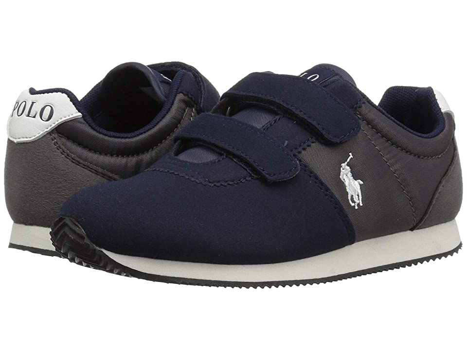Polo Ralph Lauren Kids Brightwood EZ (Little Kid) (Navy/Charcoal Microsuede) Boy