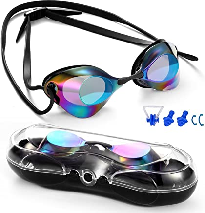 Braylin Swim Goggles, Swimming Goggles No Leaking Anti Fog UV Protection Triathlon Swim Goggles with Free Protection Case for Adult Men Women Youth Kids Child, Multiple Choice