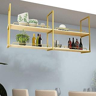 CDPC Étagère de décoration de Plafond de casier à vin en Fer de Style européen , Étagère de Plafond en Bois Massif Suspend...