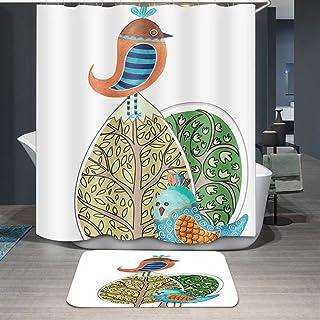 Ommda Zasłona prysznicowa tekstylna, wodoszczelna, odporna na pleśń, zwierzęta, druk cyfrowy, nadaje się do prania, z 12 z...