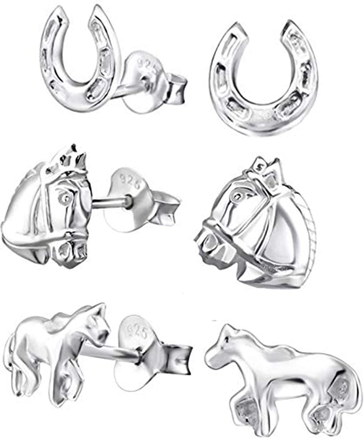 KIWI DAISY Hypoallergenic Fashion Sterling Silver Earring Set Complete Free Shipping Horse Stud