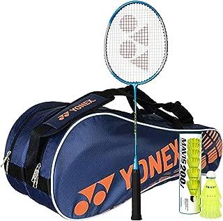 Yonex Badminton Full Kit Combo (1 Badminton Kit Bag, Navy + 1 GR 303 Badminton Racquet, Blue + Pack of 6 Nylon Shuttlecock)