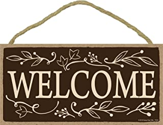 Welcome - 5 x 10 inch Hanging Signs, Wall Art, Decorative Wood Sign, Fall Signs