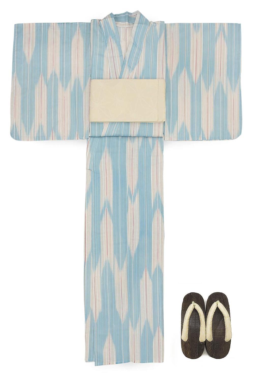 (ソウビエン) 浴衣 セット レディース 灰水色 ブルー ベージュ 矢絣 綿麻 半幅帯 マクレ ボヌールセゾン