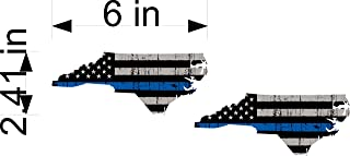 North Carolina Tattered Police Officer Thin Blue Line 2.5x6