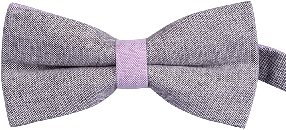 AINOW Mens Fashion Cotton Pre-tied Banded Bow Ties Bowtie