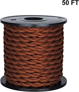 [UL Listed] 50ft Twisted Cloth Covered Wire, Carry360 Antique Industrial Electronic Wire, 18-Gauge 2-Conductor Vintage Style Fabric Lamp/Pendant Cloth Cord Cable (Brown)