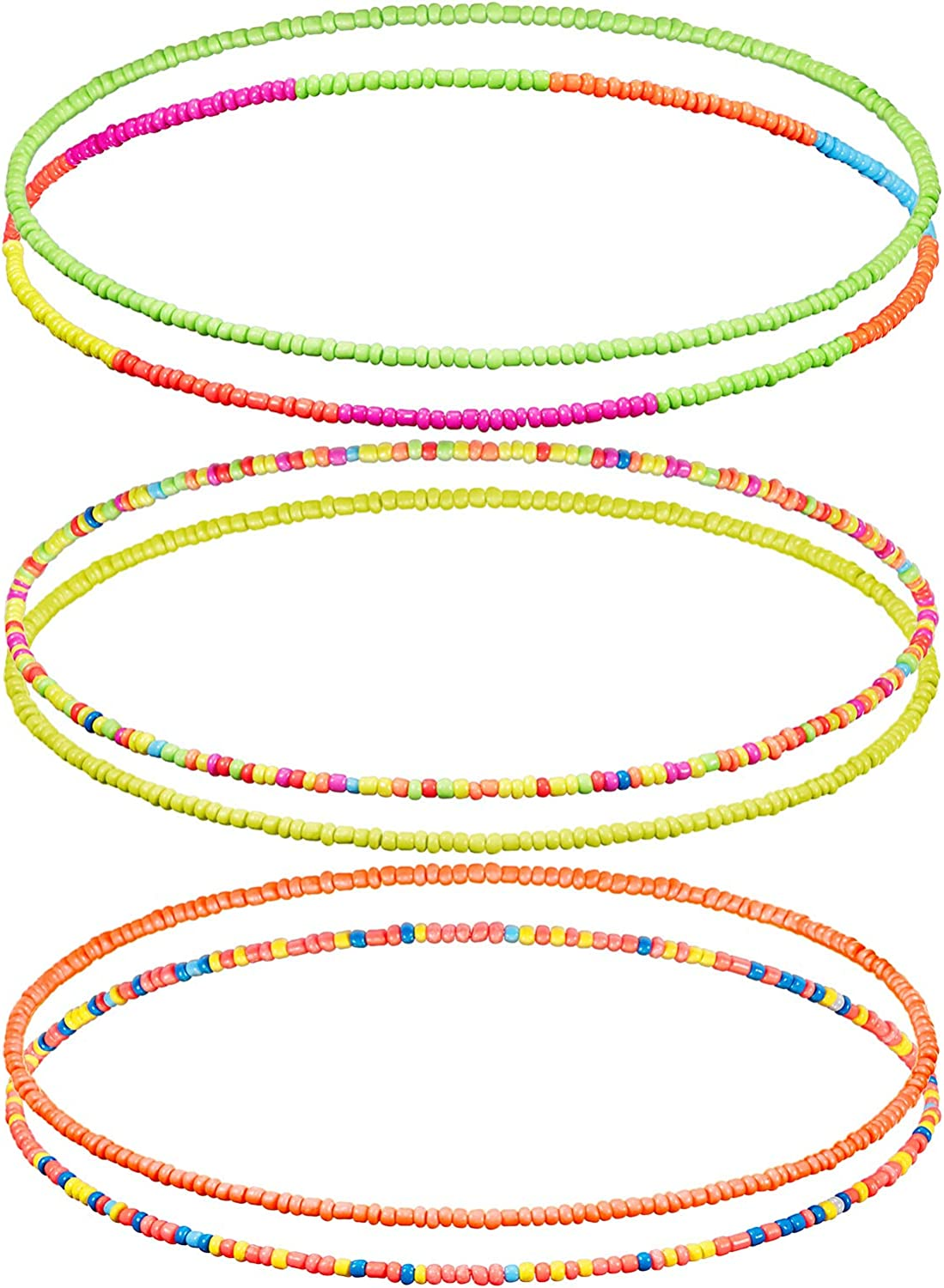 Hicarer Neon Elastic Waist Beads 6 Pieces Belly Beads Colorful Body Chain African Waist Belly Chain Bikini Necklace Bracelet Anklet Jewelry for Women Girls, 6 Styles
