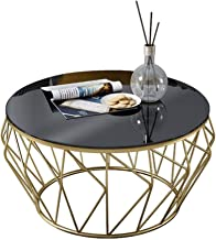 Living Room Table Furniture Living Room Coffee Table Modern Side Table - Round Black Glass Desktop and Metal Frame-Office ...