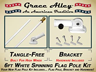Grace Alley Flag Pole Kit: Outdoor Flag Pole Kit Includes Tangle Free Spinning Flagpole and Flagpole Bracket White