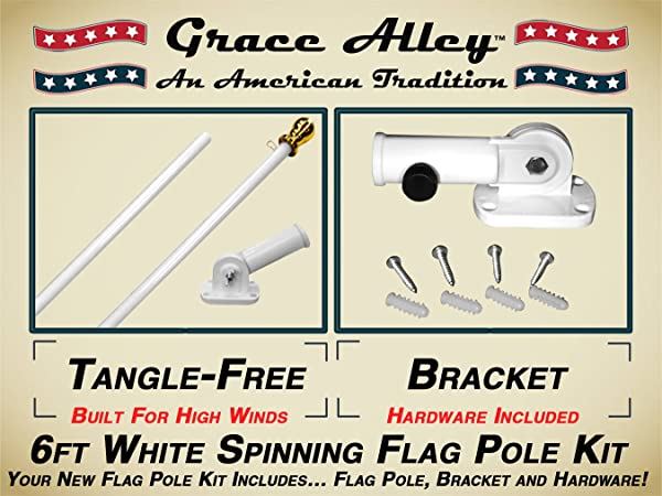 Grace Alley Flag Pole Kit Outdoor Flag Pole Kit Includes Tangle Free Spinning Flagpole And Flagpole Bracket White