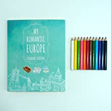 My Romantic Europe Coloring Stickers With 12 Mini Color Pencils