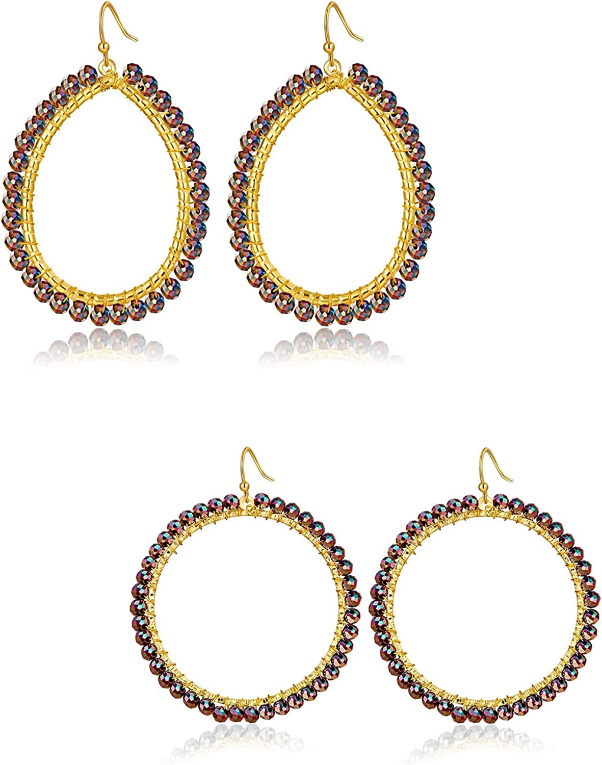 Handmade Crystal Beaded Statement Hoop Drop Earrings for Women Girls-2 pairs 14K Gold Plated Lightweight Bohemian Colorful Wrapped Beads Dangle Earring