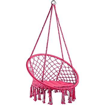 Patio GDCB Sedile da Altalena con Sedia Amaca in Corda sospesa con 2 Cuscini di Seduta per Cortile Interna o Esterna Veranda Camera da Letto