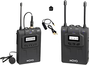 Movo WMIC80 UHF Expandable Wireless Lavalier Microphone System with Lavalier Mic & Bodypack Transmitter, Portable Receiver, and Shoe Mount for DSLR Cameras (330' Range)