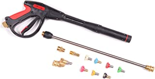 Pressure Washer Gun Accessories Kit: 4000 PSI Power Washer Wand Attachment w/High Pressure Extension, Pivot Connector, Male Adapter Parts & Quick Connect Water Spray Nozzles for Car Wash or Concrete